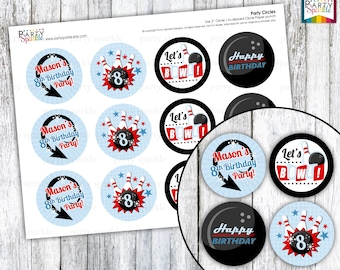 "Retro Bowling - Red and Blue Birthday  Party  2"" Party Circles - Cupcake Toppers - Personalized - Digital pdf file"