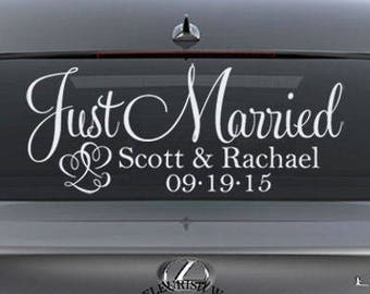 Just Married Car Sign - Personalized Wedding Sign - Wedding Car Decoration - Wedding Car Decal - Wedding Decal - Wedding Decoration FN019