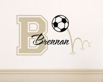 Soccer Wall Decal - Personalized Sports Decal With Initial And Name for Baby Boy Nursery Boys Room Girls Room - Vinyl Wall Art BN016