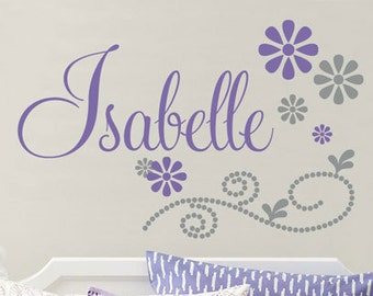 Girls Name Wall Decal - Girl Flower & Polka Dot Scroll Name Wall Decal - Baby Girl Nursery Or Teen Bedroom Personalized Vinyl Wall Art GN058
