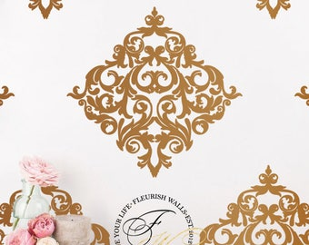 Damask Wall Decals Set of 6 - Damask Wall Stickers - Shabby Chic Vinyl Wallpaper Look For Kitchen Living Room or Bathroom Wall Decor DP003