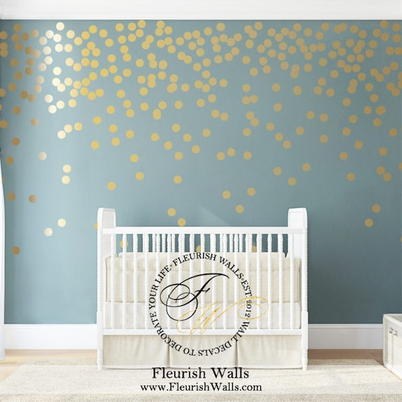 gold wall dots decal gold polka dot wall decals girls room | etsy