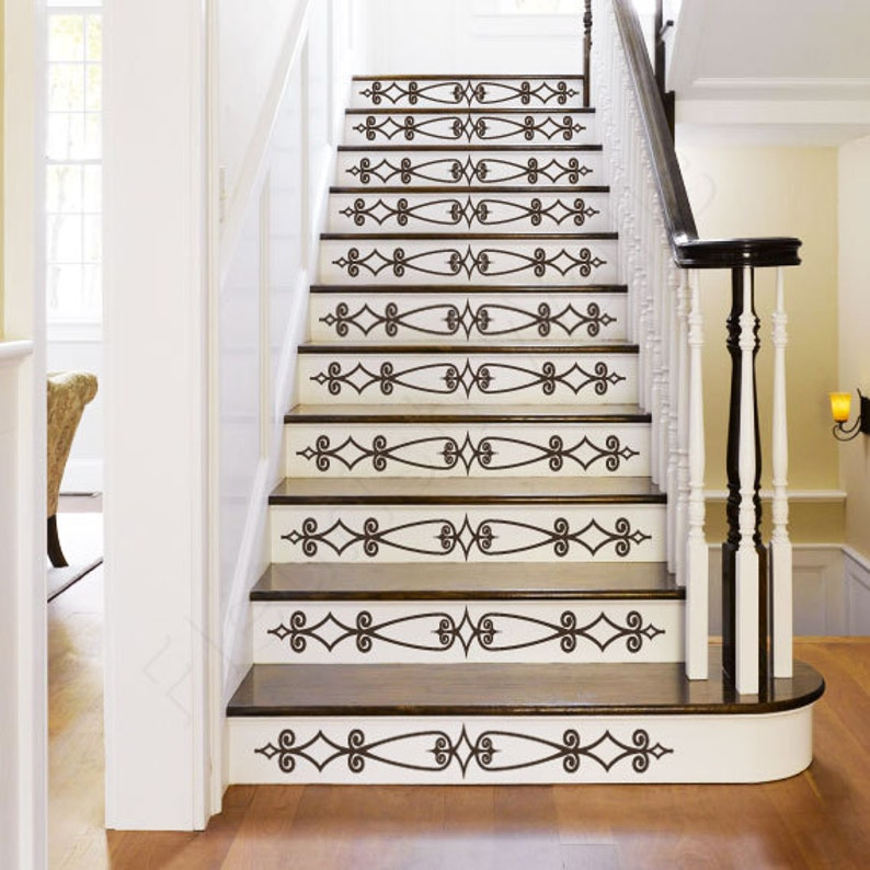 Vinyl Stair Decals For Staircase Riser Decor   Decorative Stair Riser Decal    Stair Stickers Decal   Staircase Decals SET OF TEN (10) ST001