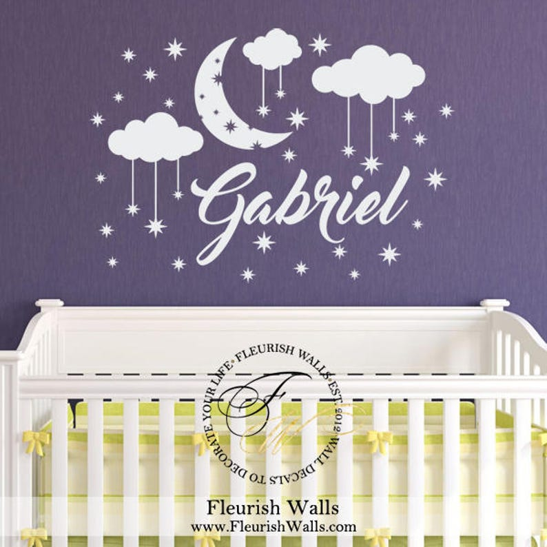 name wall decal boy name decal moon stars clouds nursery | etsy