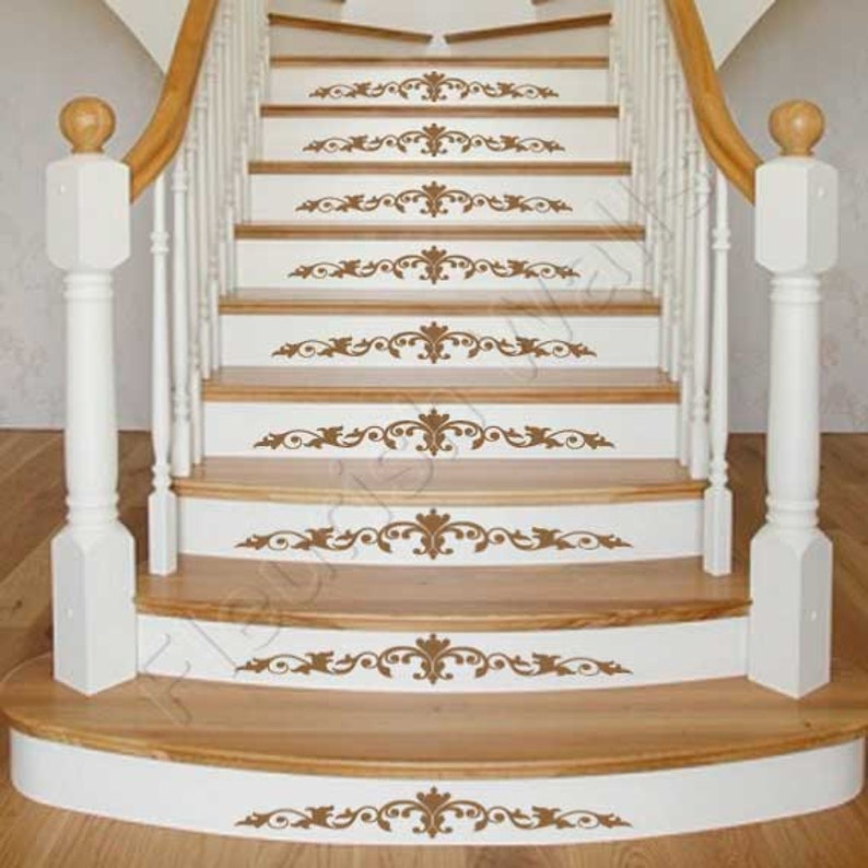 Exceptionnel Staircase Decals   Damask Decal Scroll For Stair Riser Decor   Vinyl  Stairway Sticker Decal   Staircase Art SET OF FIVE (5) DP005