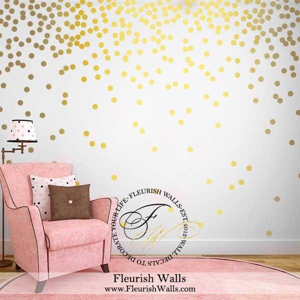 Marion S Coral And Gold Polka Dot Nursery: Gold Polka Dot Wall Decals