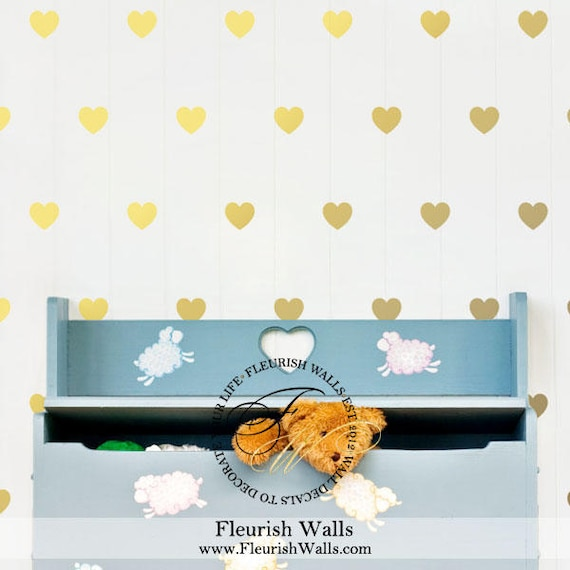 Gold Heart Decals Gold Wall Decal Peel And Stick Nursery | Etsy