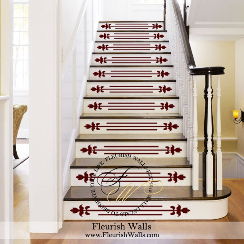 Charmant Vinyl Stair Decals For Staircase Riser Decor   Decorative Stair Riser Decal    Stair Stickers Decal   Staircase Decals SET OF TEN (10) ST002