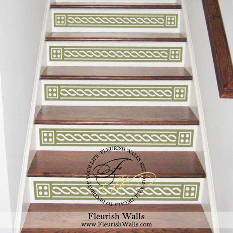 Vinyl Stair Decals For Staircase Riser Decor   Decorative Stair Riser Decal    Stair Stickers Decal   Staircase Decals SET OF FIVE (5) ST005