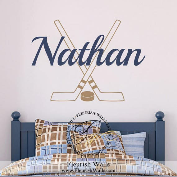 Hockey Wall Decal Personalized With Name Hockey Sticks And | Etsy