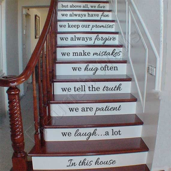 Carved Wood Stair Risers Stair Ideas Stamped Leather: Vinyl Stair Decals In This House We Do Quote Decals For