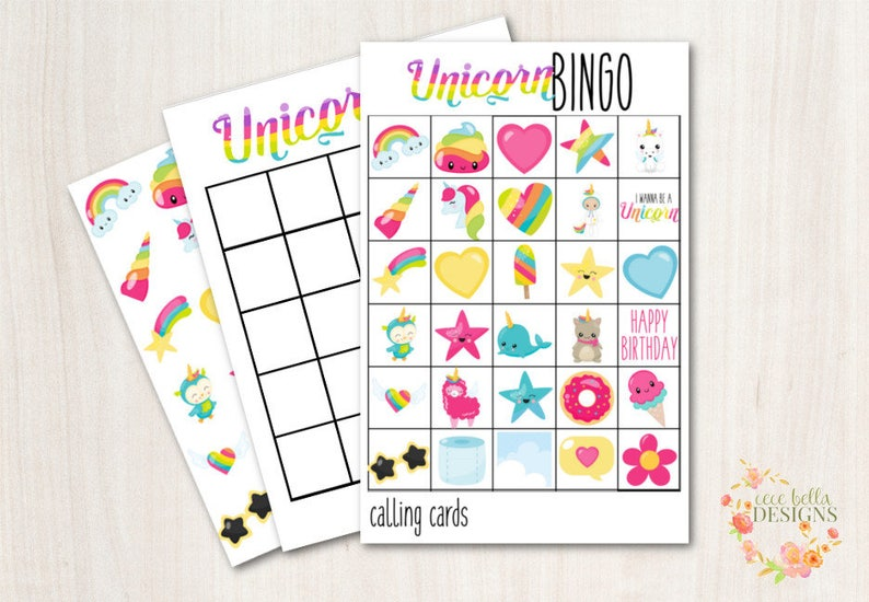 Unicorn Bingo Game  Great for Parties or Classroom Games image 0