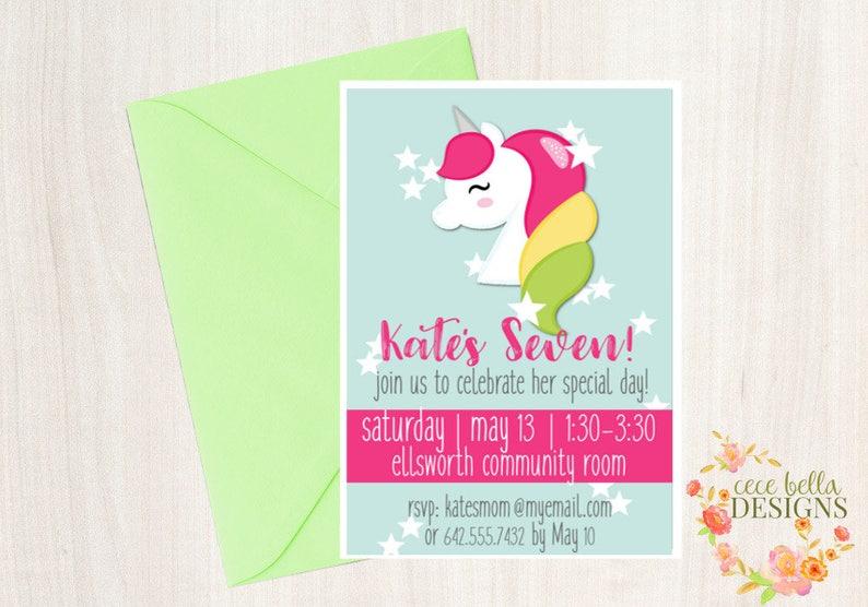 Unicorn Rainbow Birthday Party Printable Package image 0