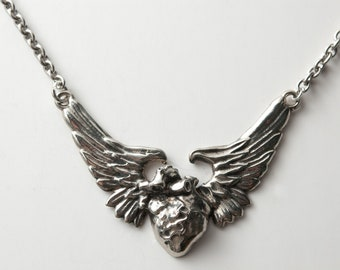Anatomical Human Heart Wing necklace by Bakutis