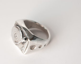 Old-School 33 LP Ring in .925 Silver by Bakutis
