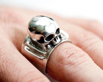 Bolted Skull Full Throttle Ring in .925 Silver by Bakutis