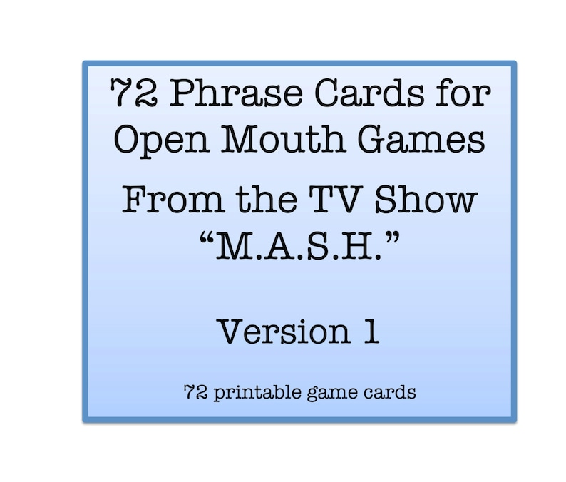 graphic regarding Watch Ya Mouth Printable Phrases titled Mouth Video game Words - Tv set Present \