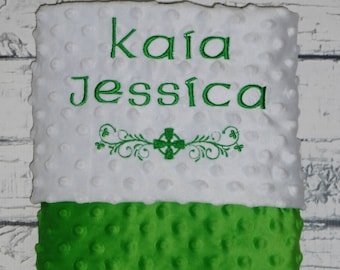 Personalized irish baby blanket irish baby blanket gift irish baby blanket irish baptism blanket minky baby blanket personalized baby blanket negle Choice Image