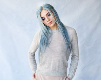 Alpaca crewneck sweater in 100% baby alpaca for women