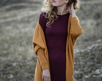 Oversized cardigan in 100% baby alpaca wool