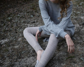 Alpaca leggings in light brown