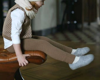 SALE Alpaca wool camel leggings sizes 3 - 6 months 12-18 months warm knitted baby pants / with elasticated waist / baby / toddler children
