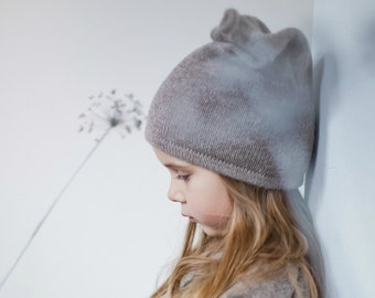 Knit alpaca wool hat / baby / children / toddler /alpaca wool slouchy beanie / over-sized gray hat /  knit unisex hat