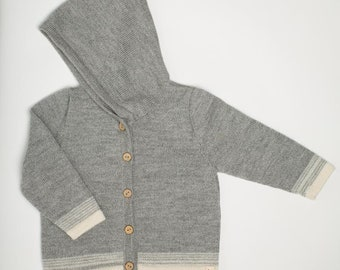 Hooded knit sweater baby alpaca knit hoodie wool knit cardigan gray brown white knitted wool jacket baby boy girl coat baby gift knit hoodie