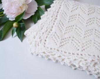 Heirloom blanket in 100% baby alpaca white wool baby blanket christening blanket baptism gift knit crochet blanket girl boy baby shower gift