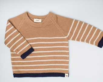 Kids knit jumper 100% baby alpaca boy brown knit pullover wool camel brown sweater striped pullover knitted wool sweater baby boy pullover