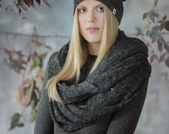 Woman scarf in alpaca linen blend