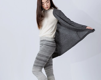 Long cardigan / alpaca cardigan in gray taupe charcoal dark gray navy blue ivory white