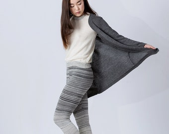 Long cardigan / alpaca cardigan in gray taupe charcoal dark gray navy blue ivory white