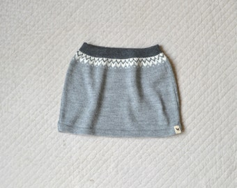 Nordic skirt for girl knitted in alpaca wool
