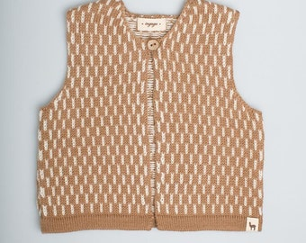 Dash pattern vest / Baby alpaca wool vest / camel / brown / white / jacquard pattern vest / children / girl / boy / toddler / baby top