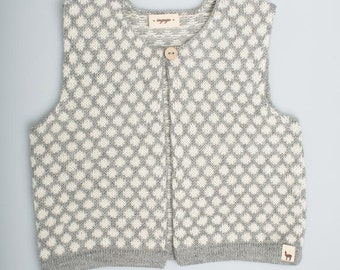 Polka dot vest / Baby alpaca wool girl vest / gray / white / jacquard pattern / children / girl / toddler / baby top