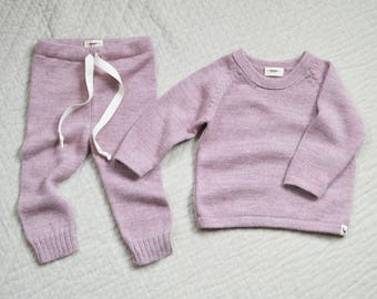 Baby set of drawstring pants and jumper in baby alpaca wool for babies and toddlers in pink gray ivory black brown alpaca wool baby gift set