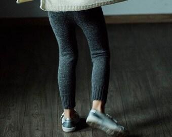 Alpaca wool leggings / dark gray baby pants / kids warm baby alpaca leggings / wool longies / wool knitted pants charcoal gray wool leggings