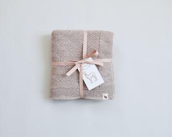 Alpaca wool blanket 100% cream white blanket baby blanket alpaca gift knit baby blanket knit wool blanket baby shower gift baby girl gift