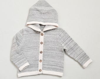 Baby Hooded cardigan 3 months - 2 years 100% baby alpaca