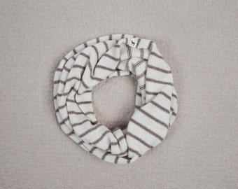 Striped Infinity Scarf / white / brown loop alpaca wool Circle Scarf / woman / adult / girl / boy / toddler / children / kids