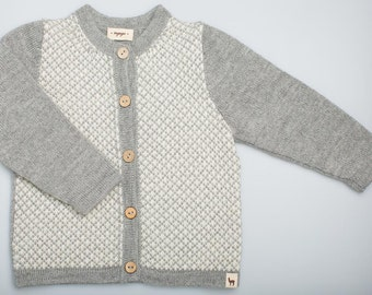 Jacquard pattern gray sweater / organic baby alpaca wool cardigan for girls / boys / children / kids / Eco friendly knitted sweater