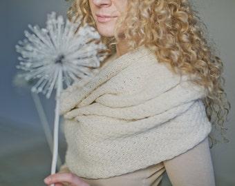 Alpaca Infinity Scarf, organic wool Loop Scarf, Knit Cowl Scarf, Circle Scarf. rose gray / brown snood