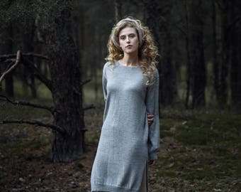 Knit sweater dress midi wool tunic dress 100% baby alpaca knitted gray dress brown charcoal taupe  gray dress winter dress knit wool dress