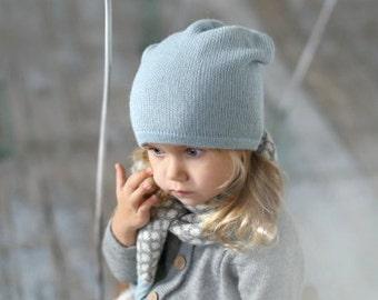 Kids light blue hat / baby / children / toddler / alpaca wool slouchy beanie / over-sized hat /  knit unisex hat