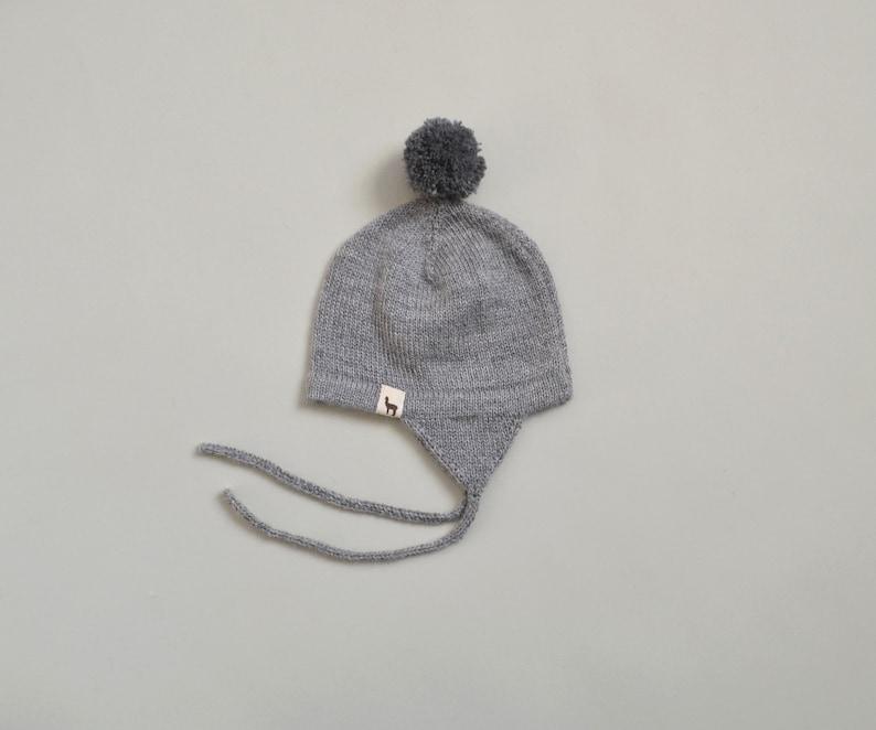 ee9d7017d6d97 Pom pom hat in baby alpaca wool knitted cap baby with pom pom