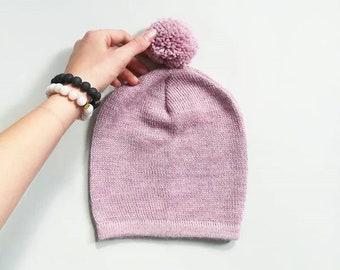 Pom pom hat in alpaca wool knitted hat wool baby knit hat Kids gray hat alpaca wool knitted beanie hat with pom pom pink hat knit unisex hat