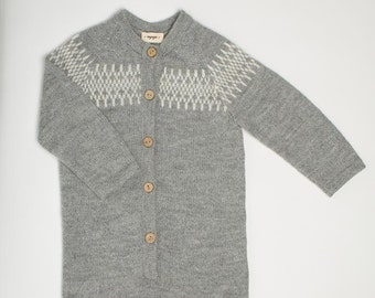 Raglan grey overall /  jacquard jumper / baby alpaca wool knitted suit / Eco friendly jumpsuit / boy / girl / toddler / baby
