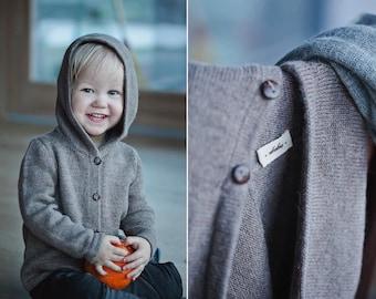 Hooded sweater baby alpaca brown gray knit hoodie  wool jacket baby boy girl toddler kids hooded sweater wool cardigan wool knit hoodie