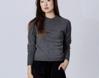 Fitted rib trim pullover in baby alpaca / wool sweater in gray charcoal navy black ivory taupe camel  crewneck pullover gray alpaca sweater